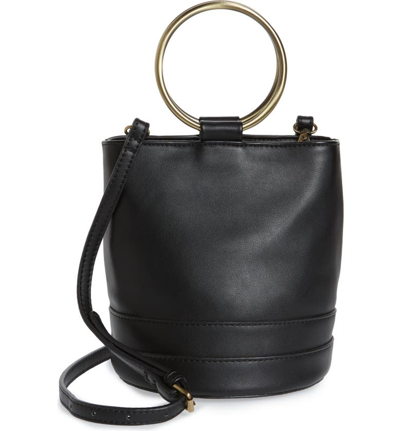 MALIBU SKYE Ring Handle Faux Leather Bag, Main, color, BLACK