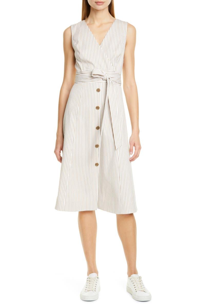 NORDSTROM SIGNATURE Stripe Button Front Dress, Main, color, 900