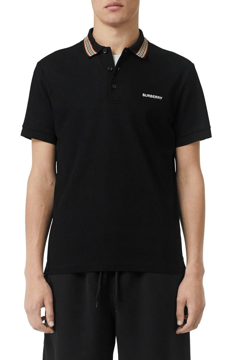BURBERRY Johnston Icon Stripe Collar  Slim Fit Piqué Polo, Main, color, BLACK