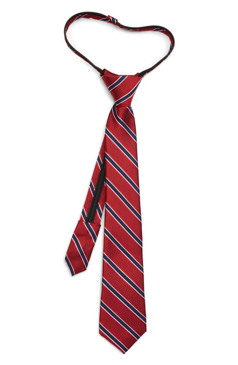 NORDSTROM Kade Stripe Silk Zipper Tie, Main, color, RED