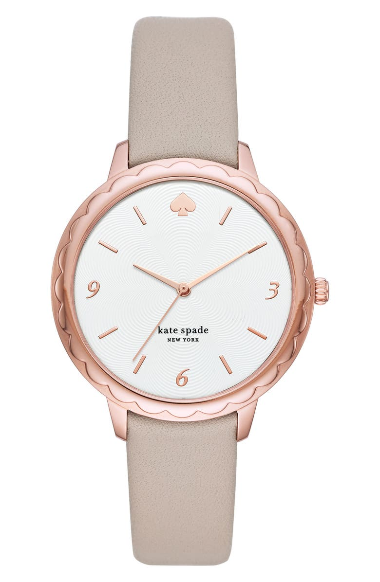 KATE SPADE NEW YORK morningside leather strap watch, 38mm, Main, color, GREY/ WHITE/ ROSE GOLD