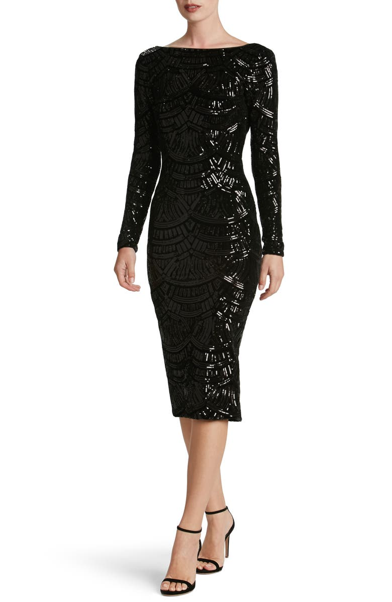 DRESS THE POPULATION Emery Scoop Back Sequin Midi Dress, Main, color, 018