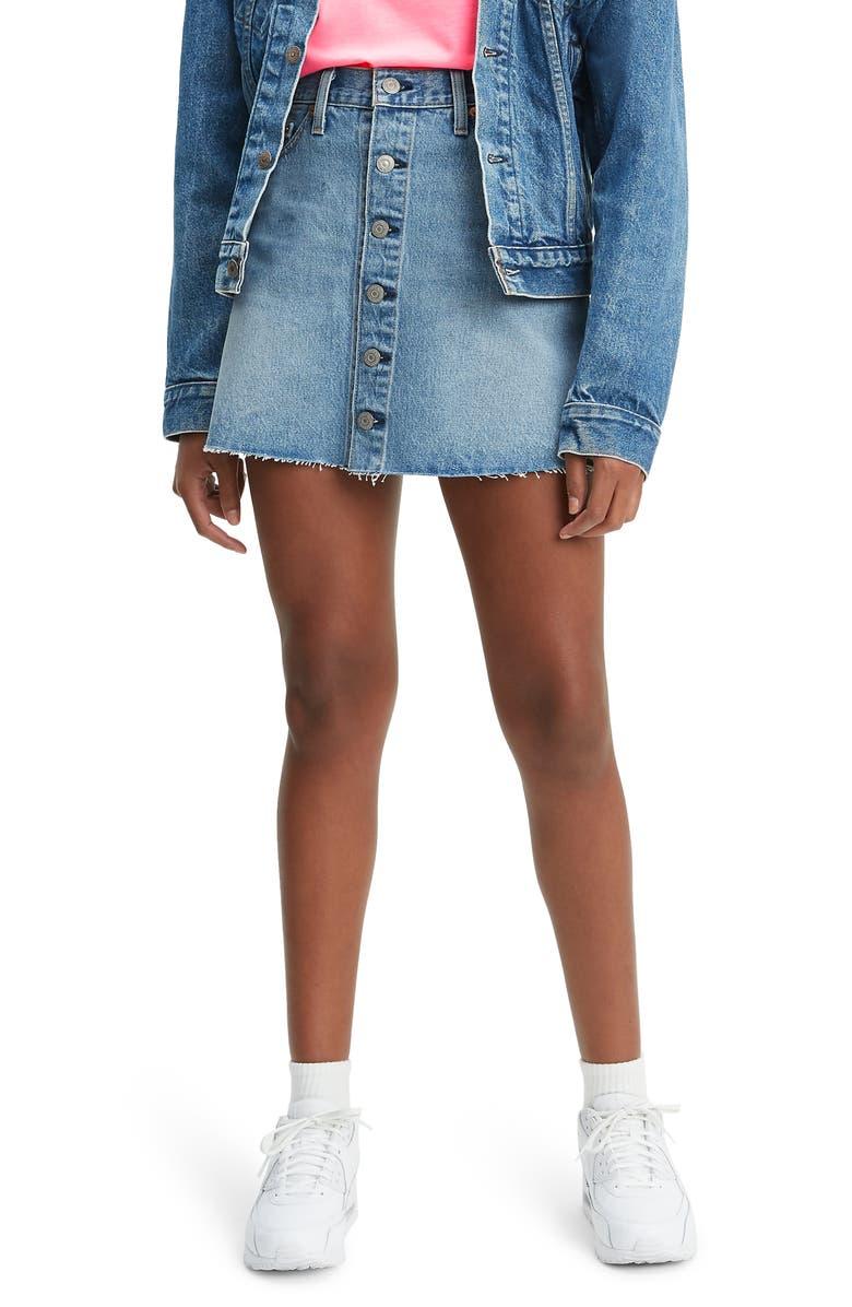 LEVI'S<SUP>®</SUP> Button Front Cutoff Miniskirt, Main, color, 420