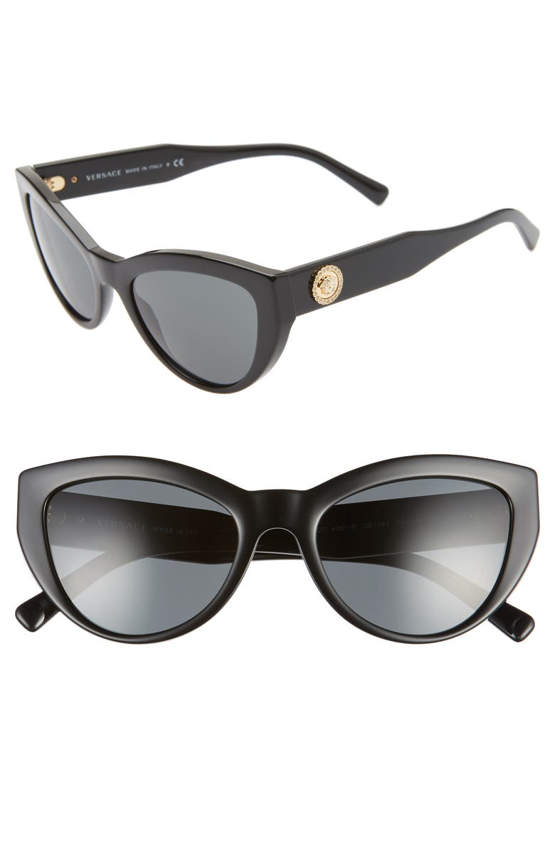 VERSACE 53mm Cat Eye Sunglasses, Main, color, BLACK/ GREY SOLID