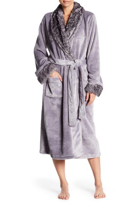 Image of shimera Faux Fur Trim Plush Robe