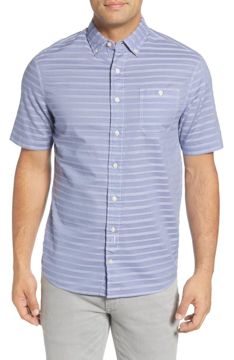 JOHNNIE-O Raleigh Hangin' Out Stripe Short Sleeve Button-Down Shirt, Main, color, MARLIN