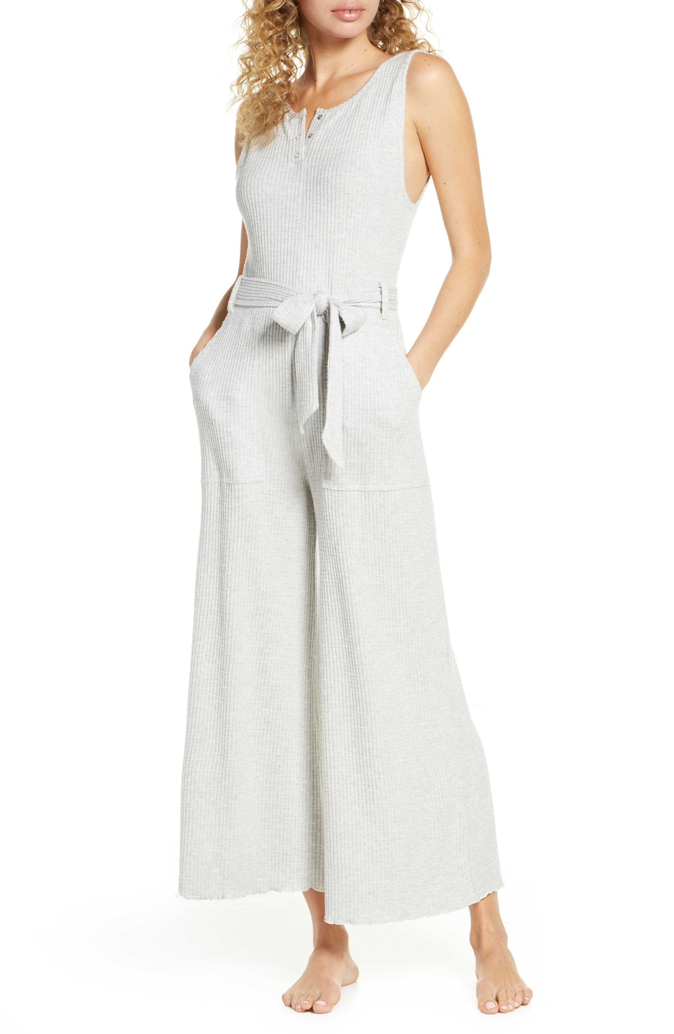 BP. Belted Waffle Knit Henley Jumpsuit (Regular & Plus Size)