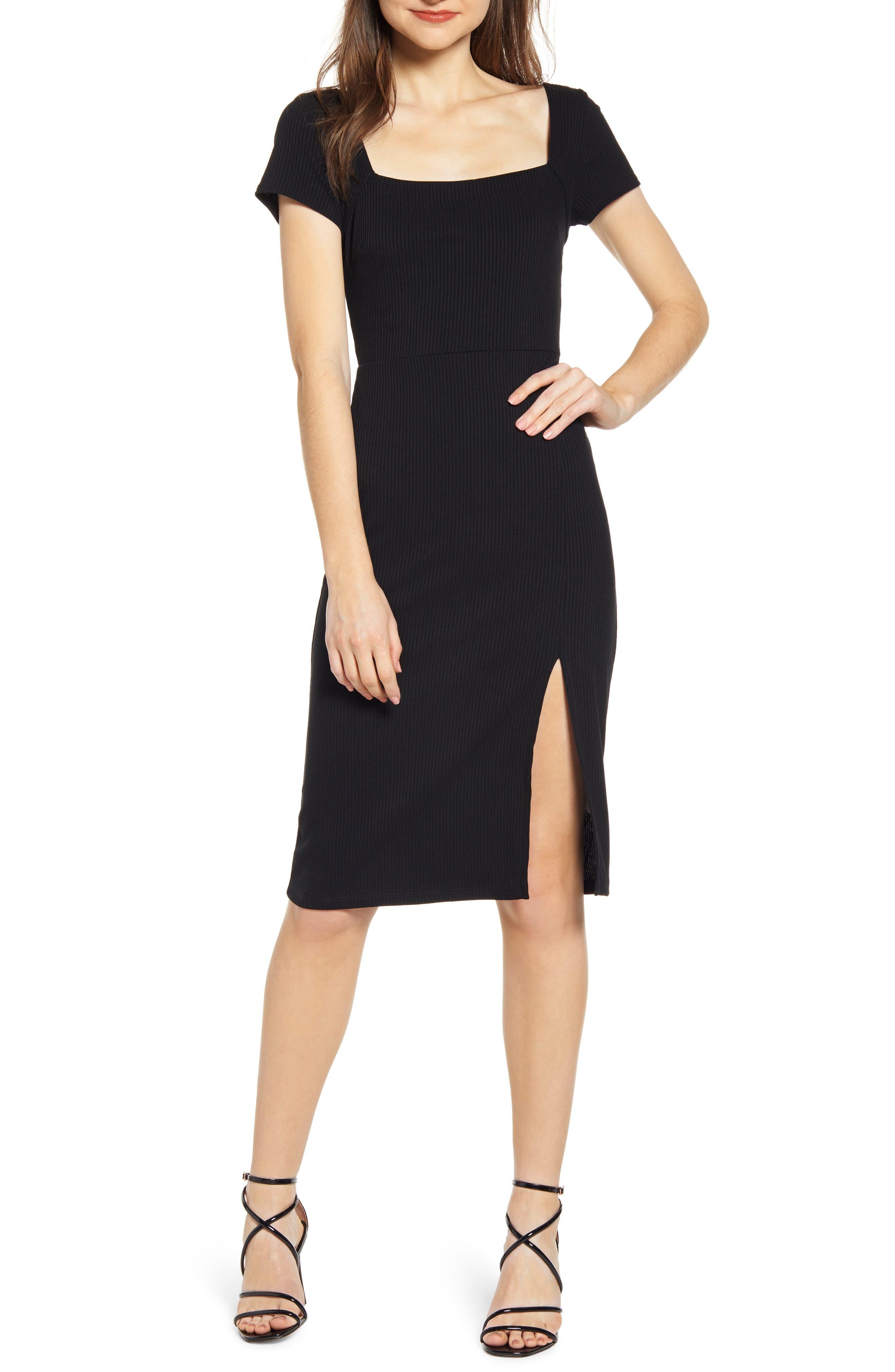 All In Favor Ribbed Square Neck Midi Dress, Black