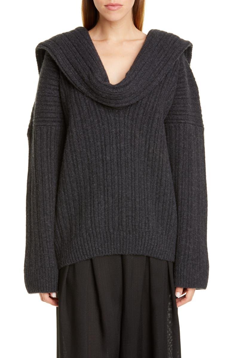 JACQUEMUS Ahwa Draped Rib Wool Blend Sweater, Main, color, GREY