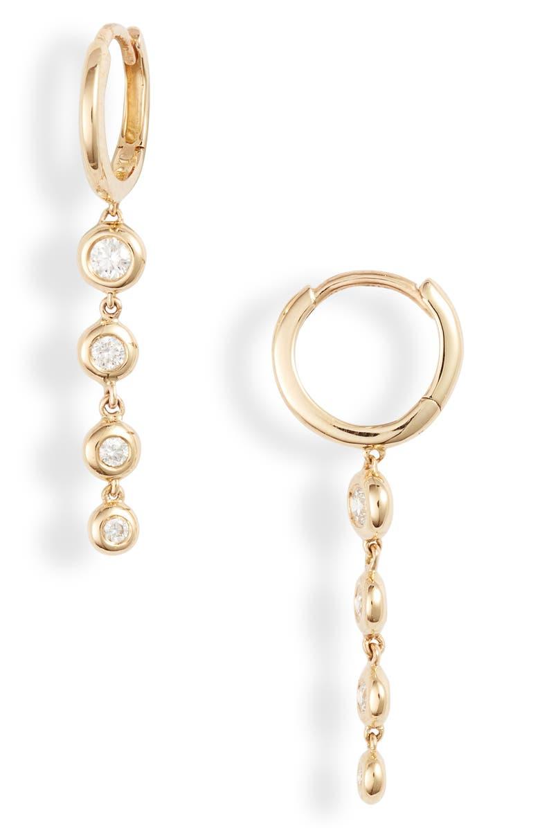BONY LEVY Monaco Bezel Diamond Drop Earrings, Main, color, YELLOW GOLD/ DIAMOND