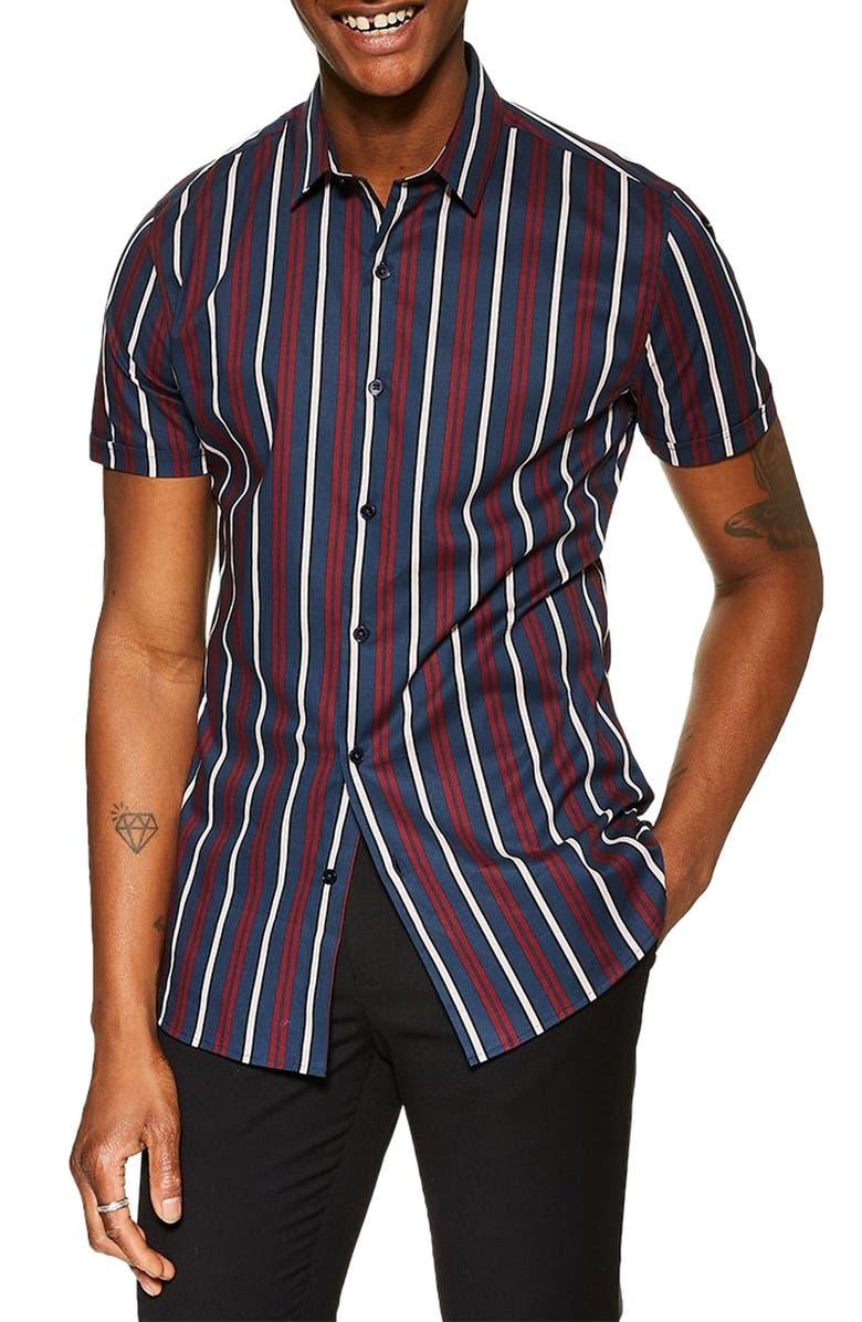 TOPMAN Stretch Skinny Fit Stripe Shirt, Main, color, 411