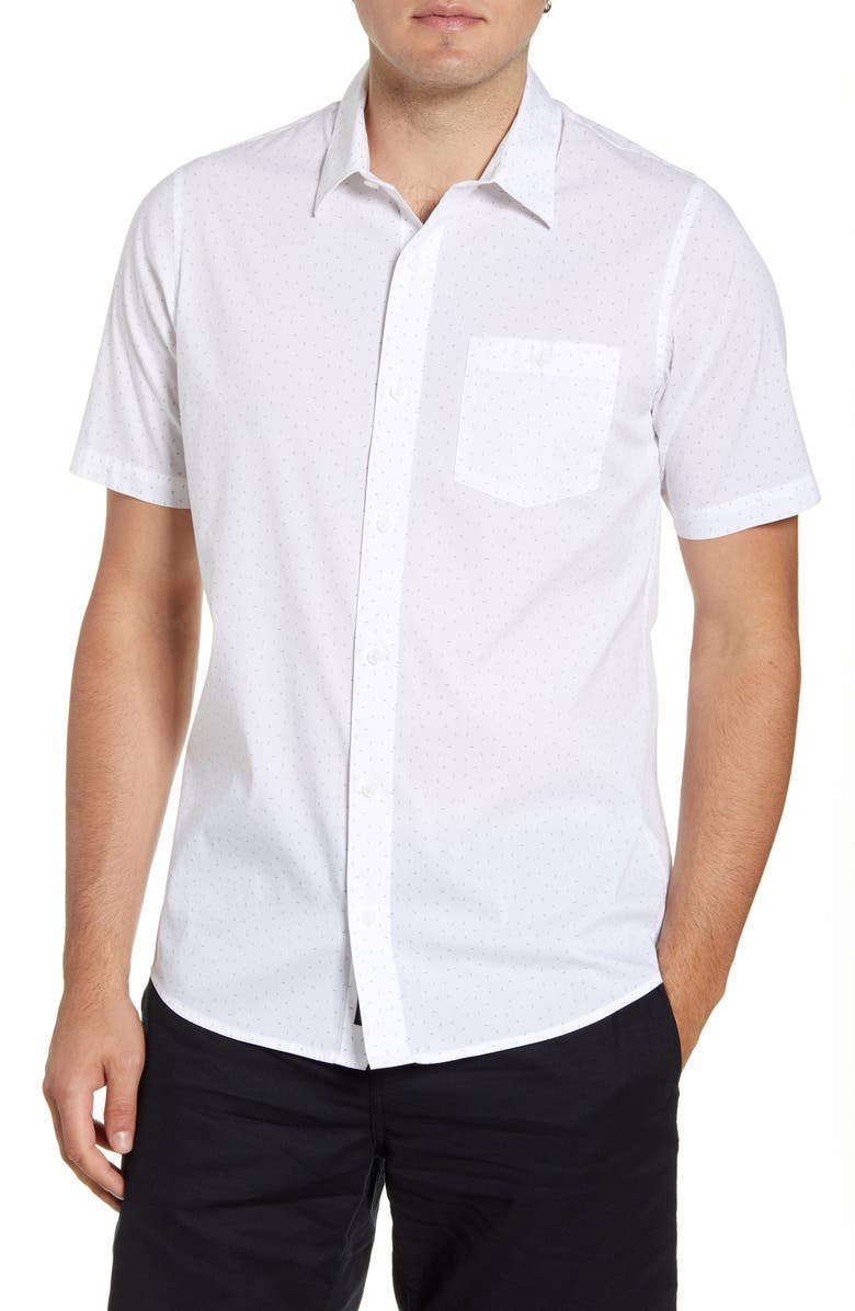 TRAVISMATHEW Open Ending Regular Fit Short Sleeve Button-Up Sport Shirt, Main, color, WHITE