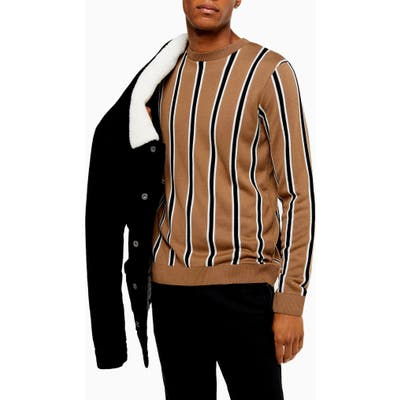 Topman Classic Fit Stripe Crewneck Sweater, Beige