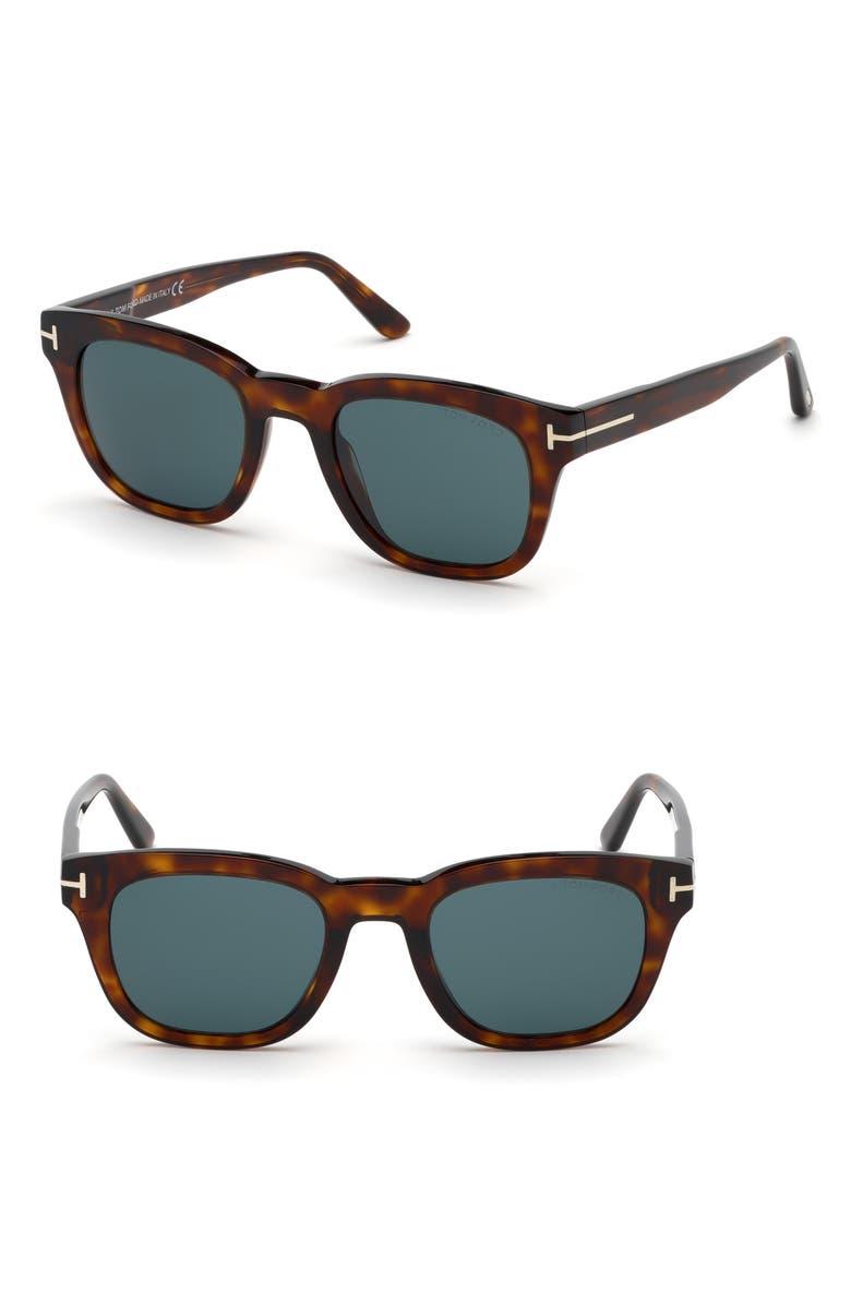 TOM FORD Eugenio 52mm Sunglasses, Main, color, SHINY RED HAVANA/ DARK TEAL