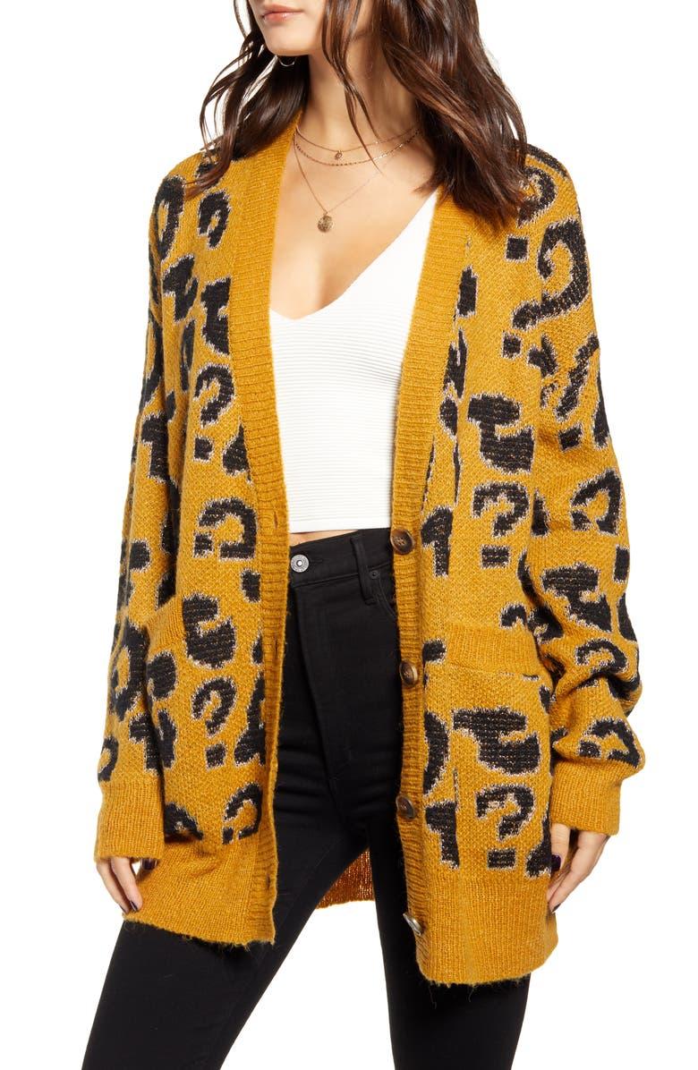 J.O.A. Leopard Pattern Cardigan, Main, color, LEOPARD/ MUSTARD