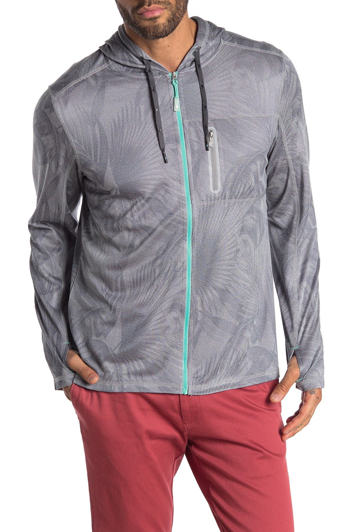Image of Tommy Bahama Island Active Forte Fronds Tropical Print Full Zip Hoodie