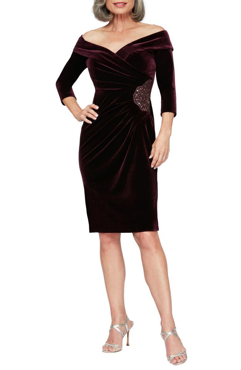 ALEX EVENINGS Off the Shoulder Velvet Cocktail Dress, Main, color, AUBERGINE