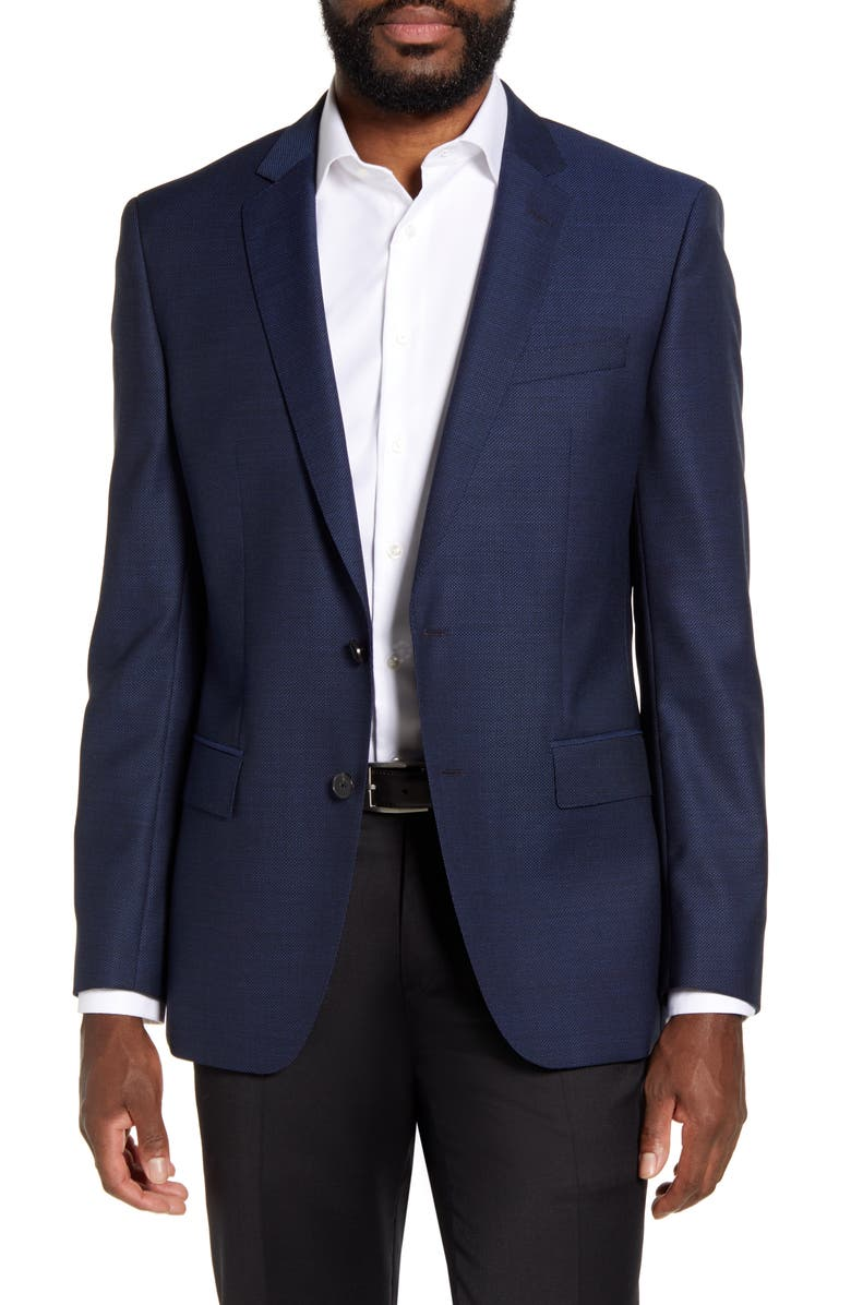BOSS Huge Trim Fit Solid Wool Blazer, Main, color, DARK BLUE