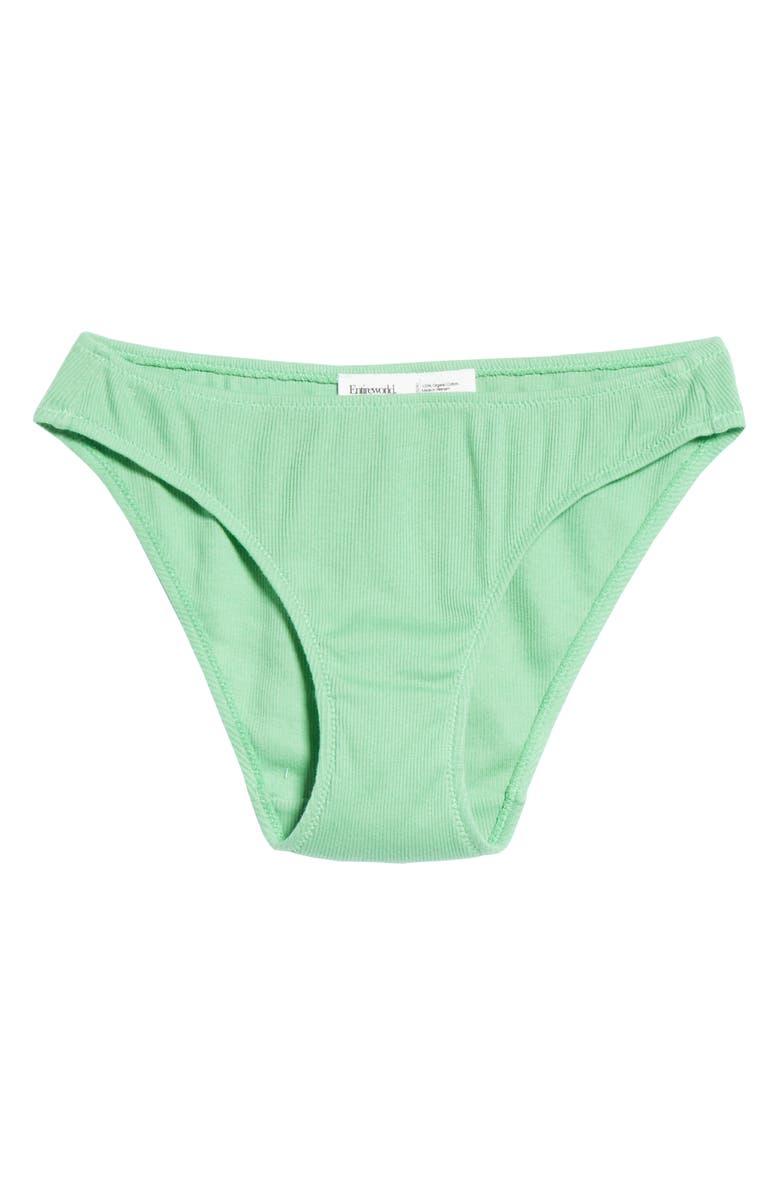 ENTIREWORLD Ribbed Organic Cotton Bikini, Main, color, LIGHT GREEN