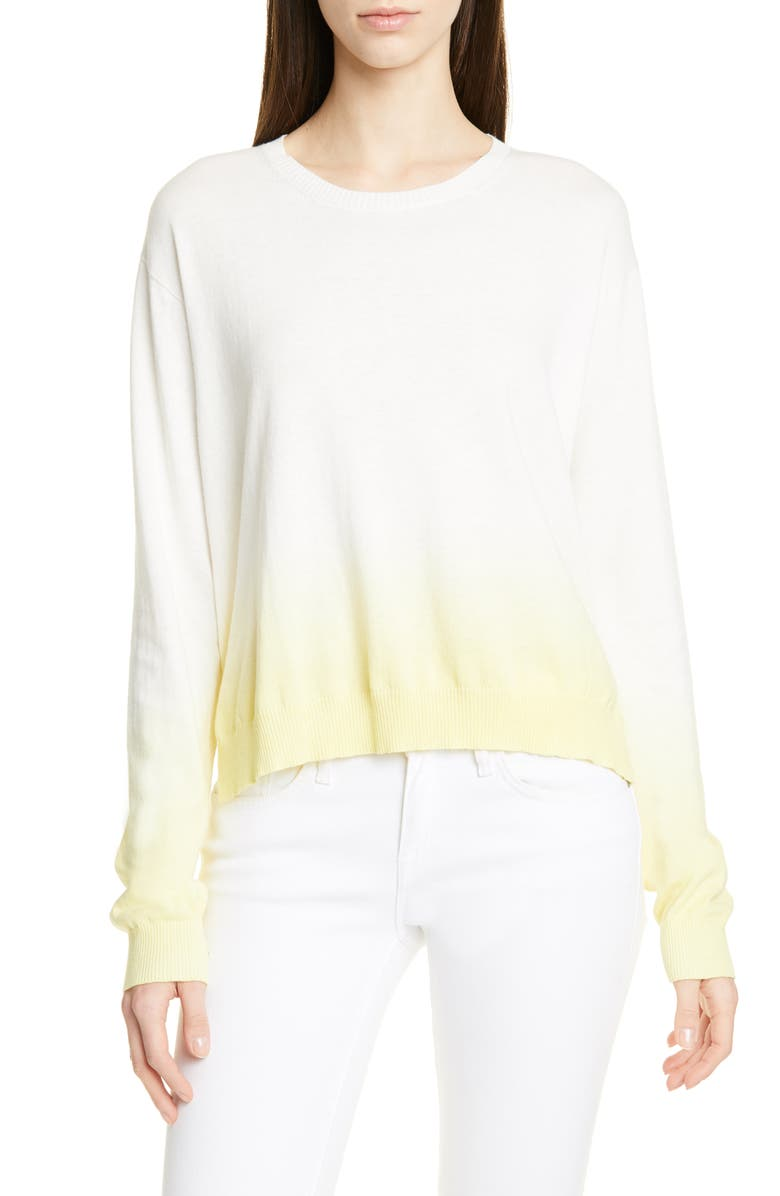 ATM ANTHONY THOMAS MELILLO Dip Dye Cotton Blend Sweater, Main, color, LEMON COMBO