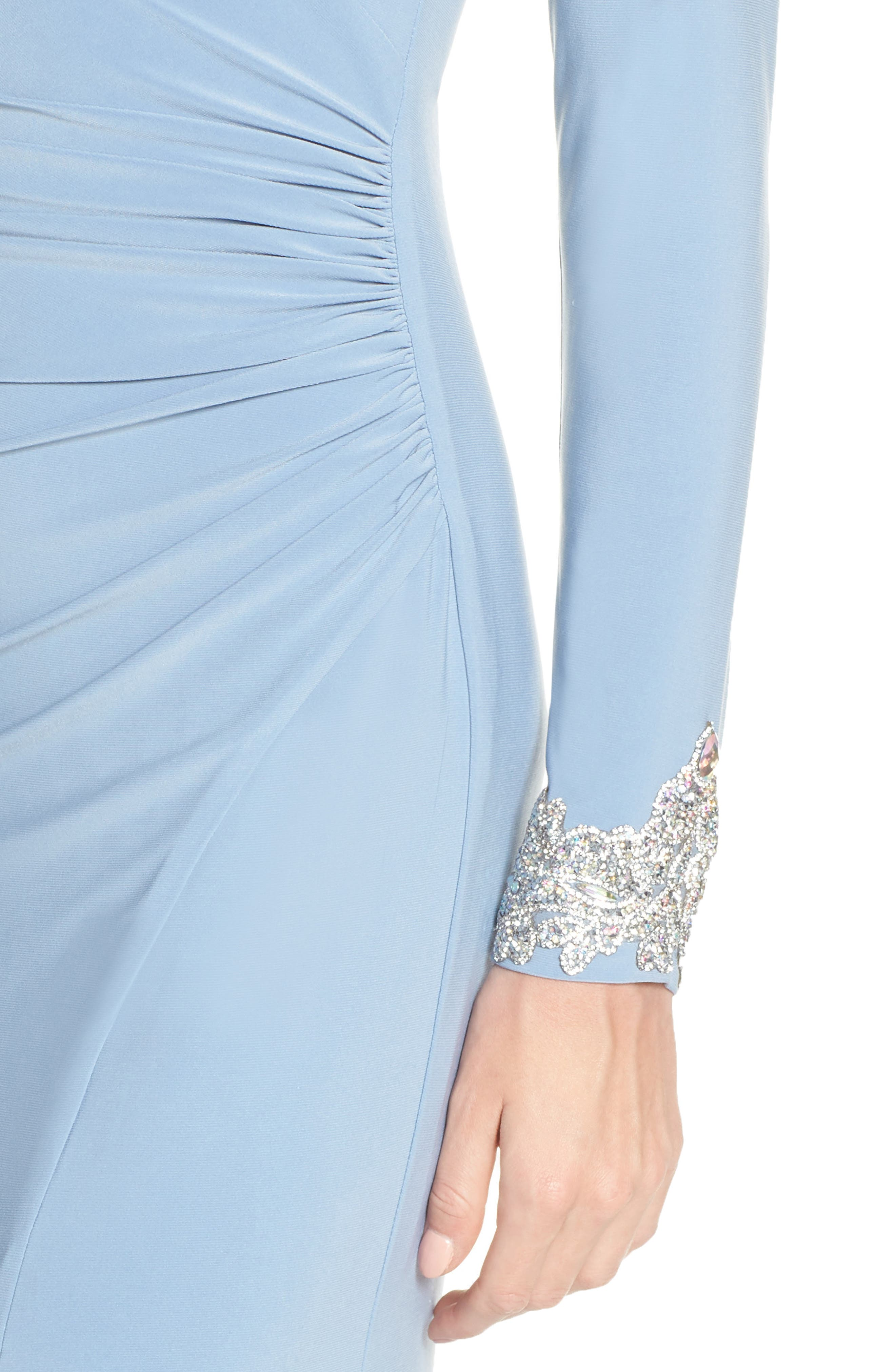 ,                             Long Sleeve Beaded Cuff Ruched Gown,                             Alternate thumbnail 5, color,                             STORM