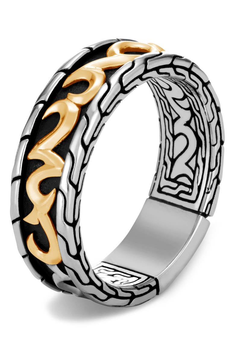 JOHN HARDY Men's Classic Chain Two-Tone 7mm Band Ring, Main, color, SILVER/ GOLD