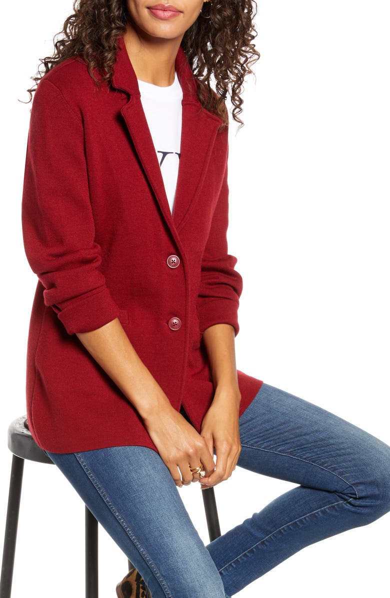1901 Stretch Wool Blend Sweater Blazer, Main, color, RED RHUBARB
