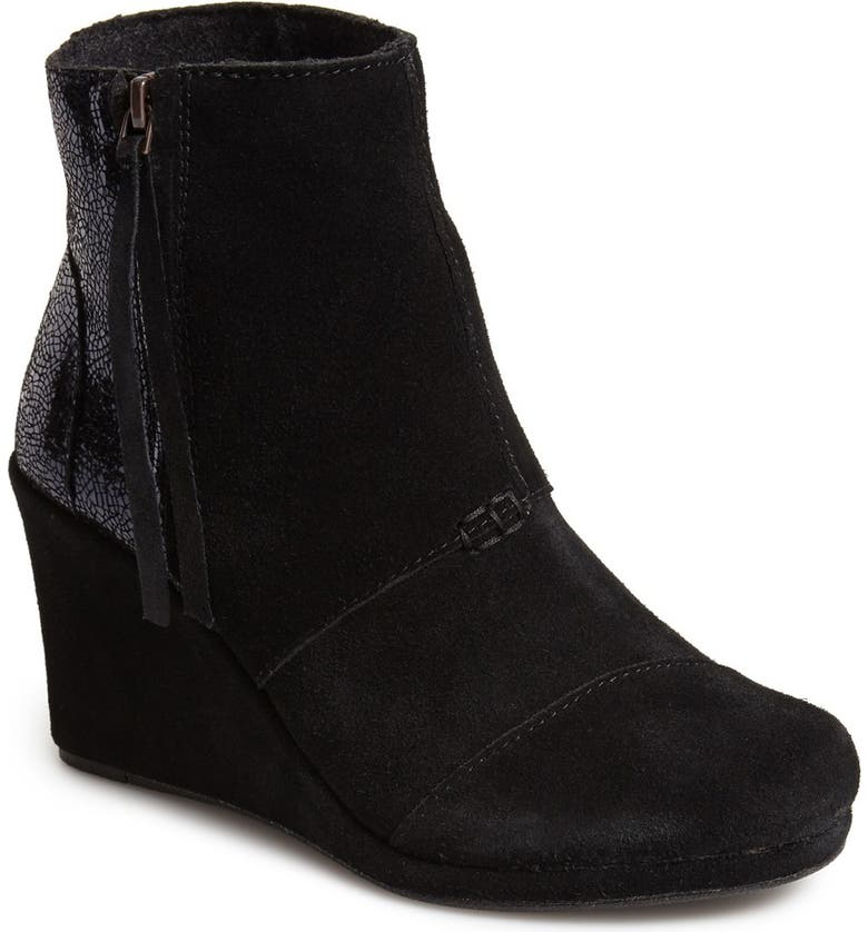 TOMS Crackled Leather & Suede High Desert Wedge, Main, color, 001