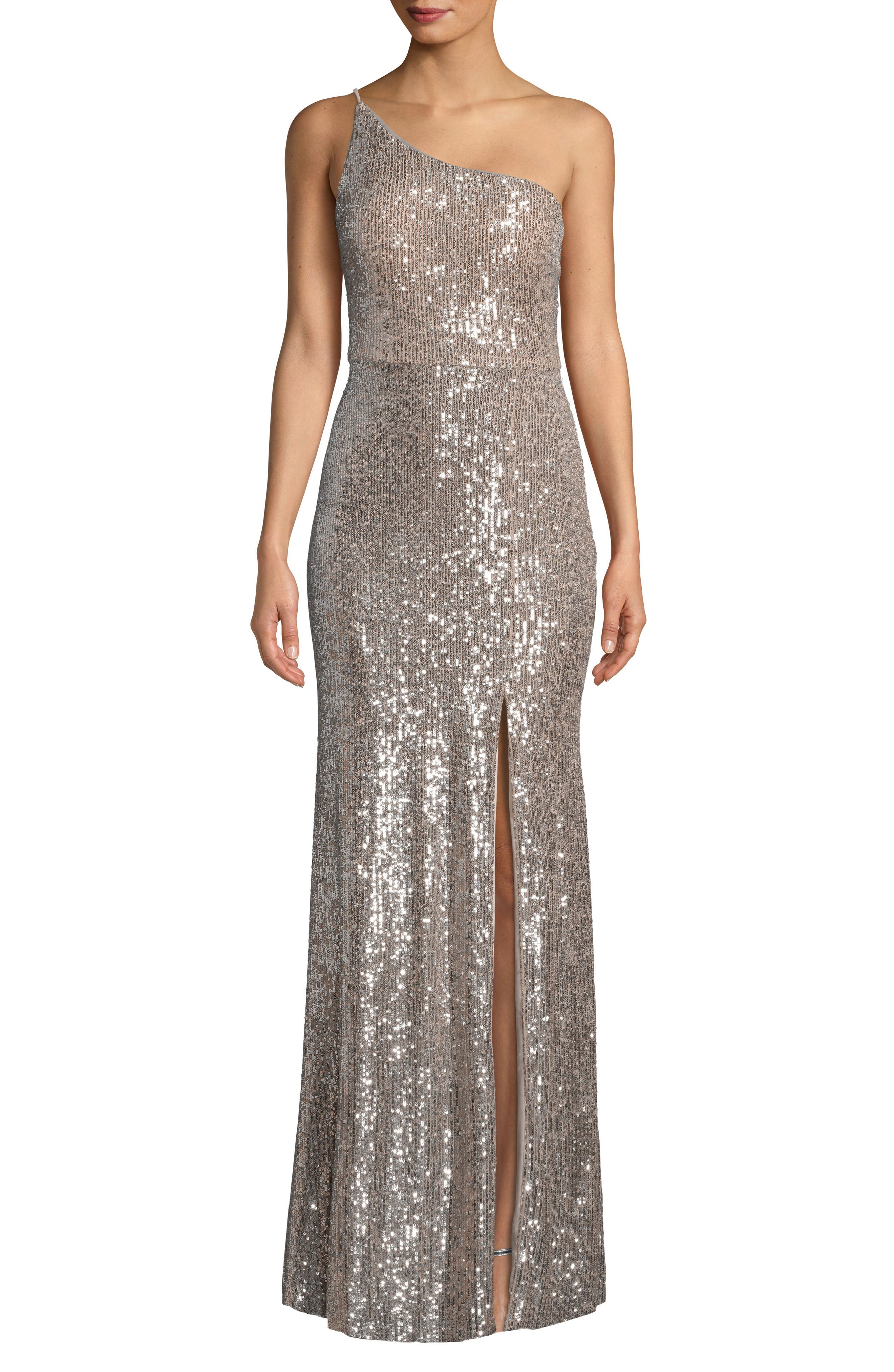 Xscape One Shoulder Sequin Evening Dress, Beige