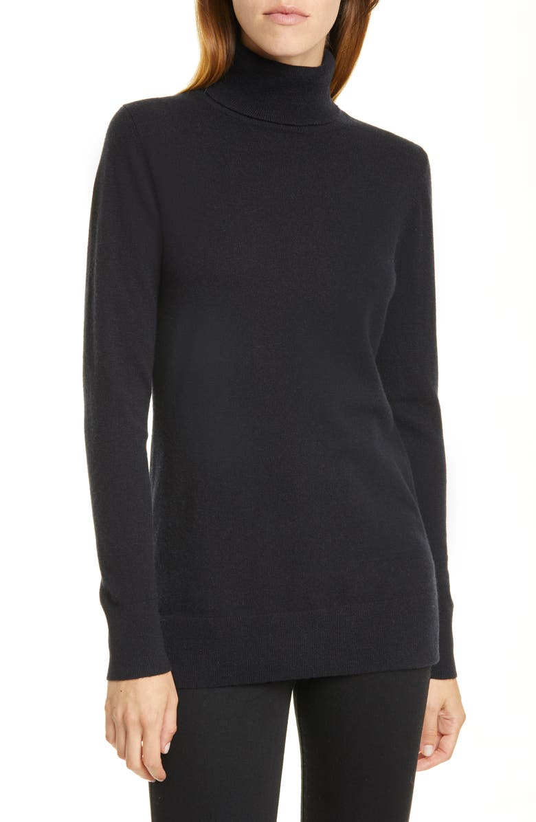 NORDSTROM SIGNATURE Turtleneck Cashmere Sweater, Main, color, BLACK