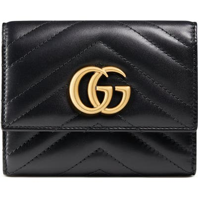 Gucci Medium Marmont 2.0 Leather Bifold Wallet - Black