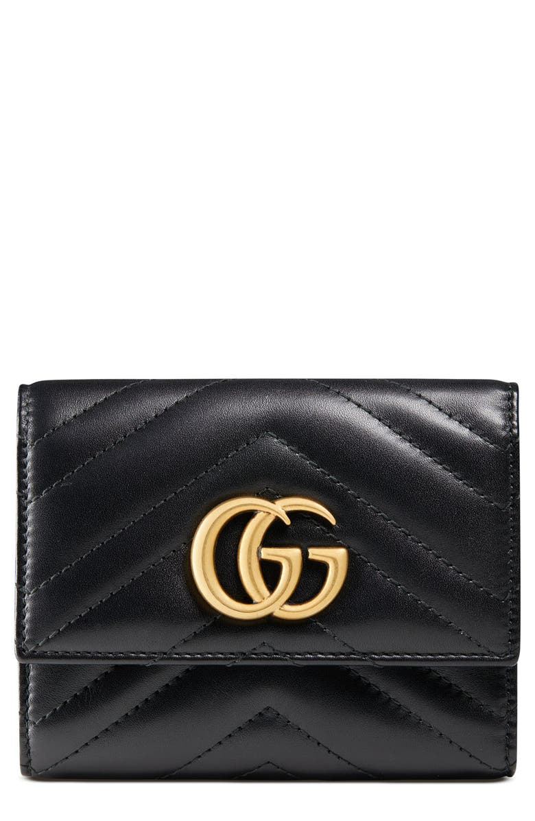 GUCCI Medium Marmont 2.0 Leather Bifold Wallet, Main, color, 001