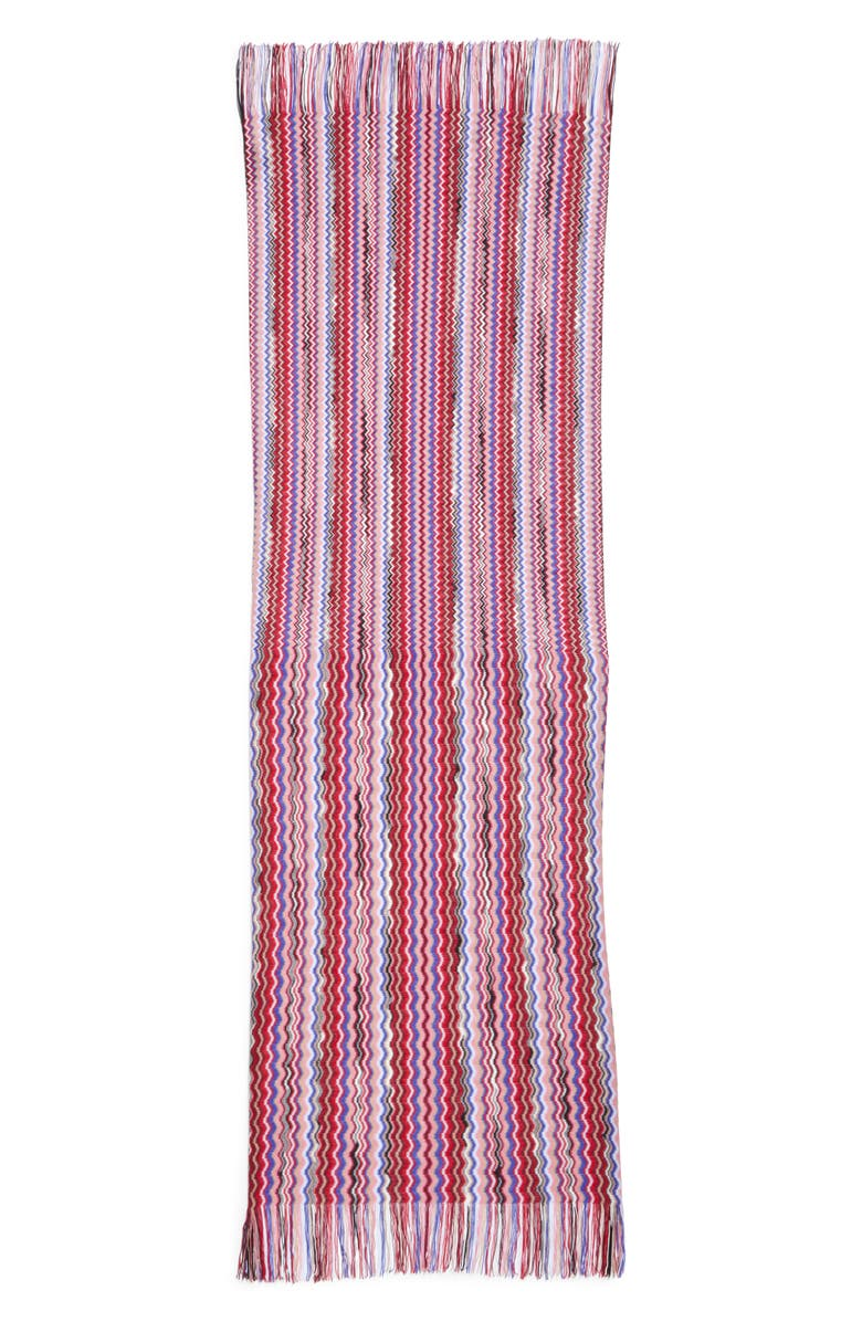 MISSONI Mini Zigzag Fringe Scarf, Main, color, RED MULTI