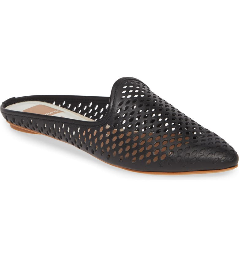 DOLCE VITA Grant Perforated Loafer Mule, Main, color, BLACK LEATHER