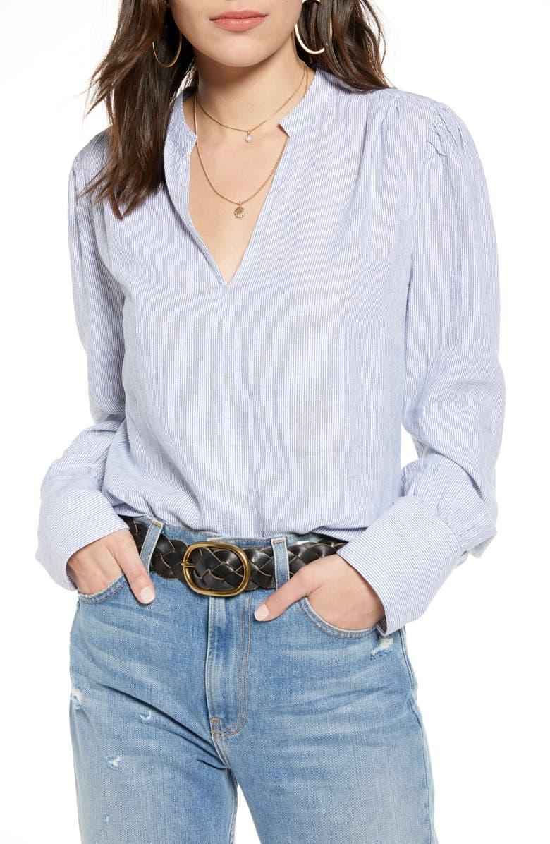 TREASURE & BOND Linen Shirt, Main, color, WHITE- BLUE WINONA STRIPE