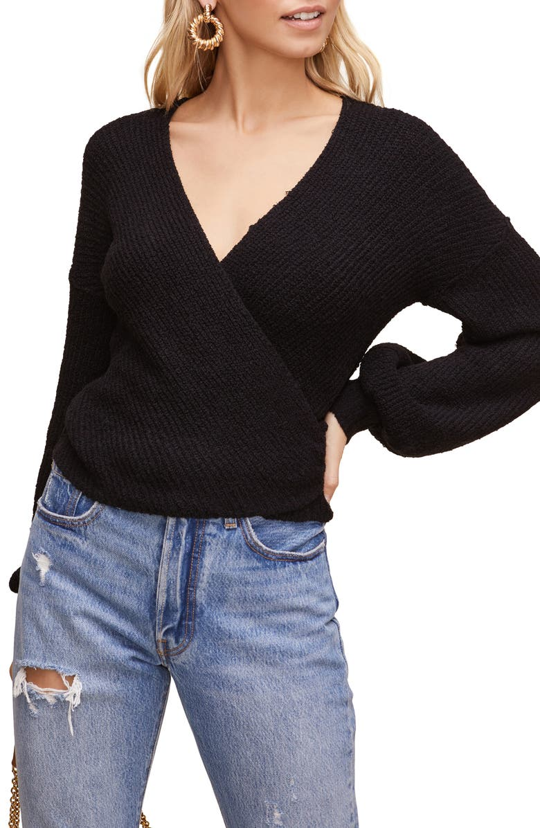 ASTR THE LABEL Surplice Sweater, Main, color, BLACK