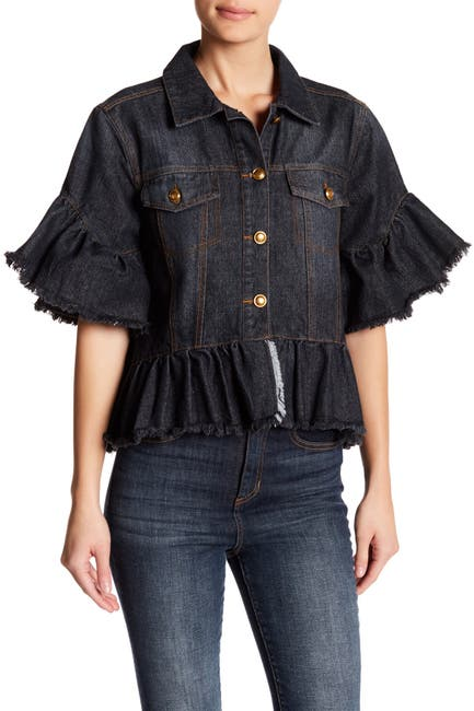 Image of TOV Trucker Cropped Ruffle Accent Jacket