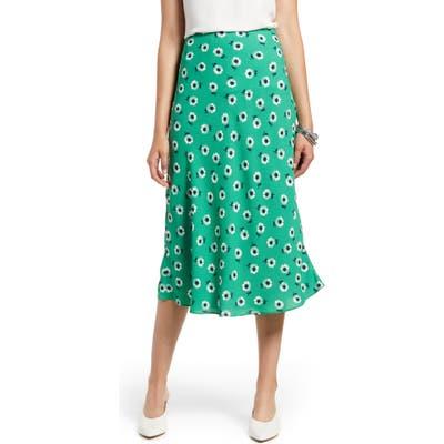 Petite Halogen Bias Cut A-Line Midi Skirt, Green