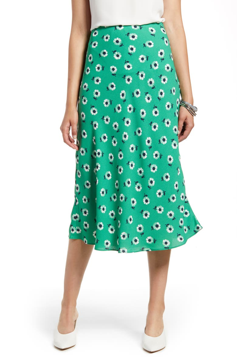 HALOGEN<SUP>®</SUP> Bias Cut A-Line Midi Skirt, Main, color, GREEN DAISY PRINT