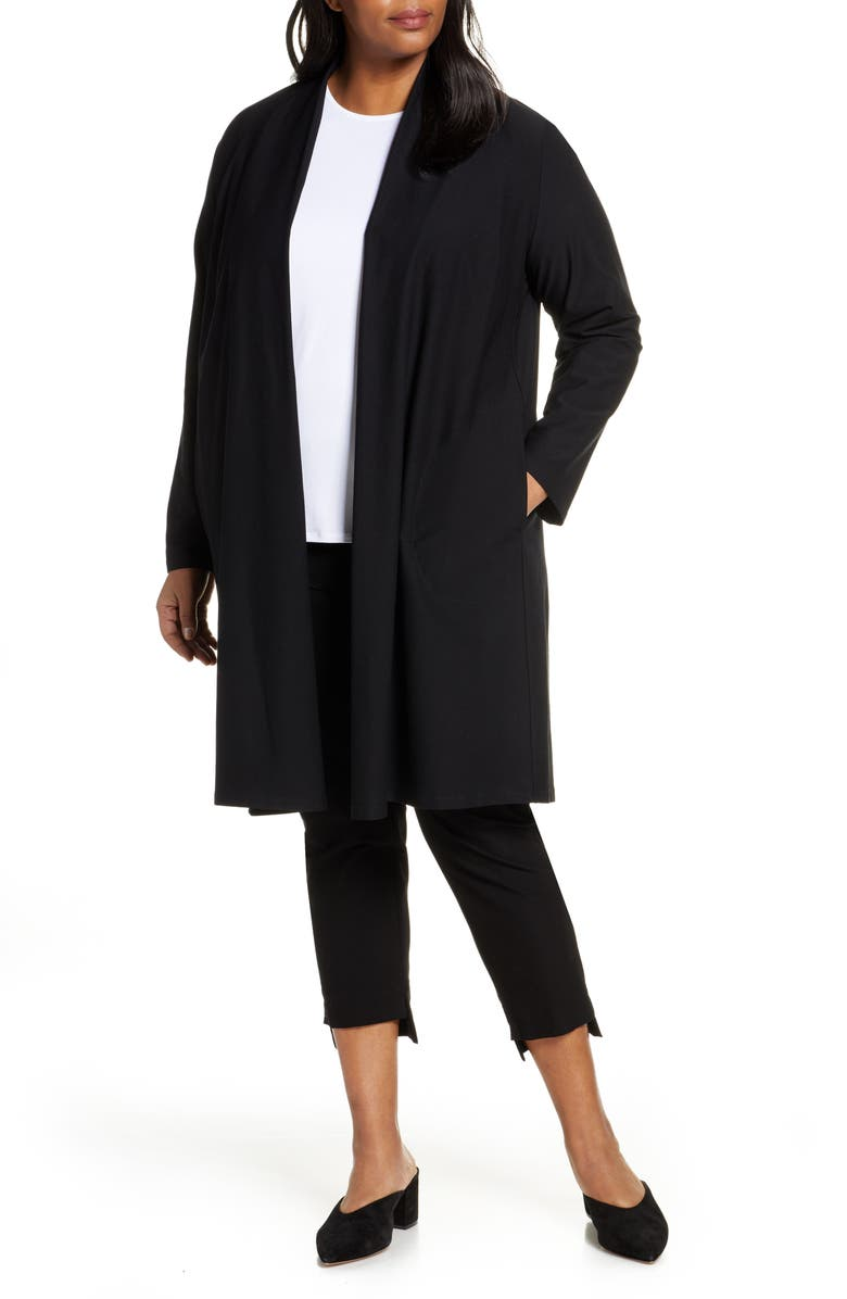 EILEEN FISHER Long Knit Jacket, Main, color, 001