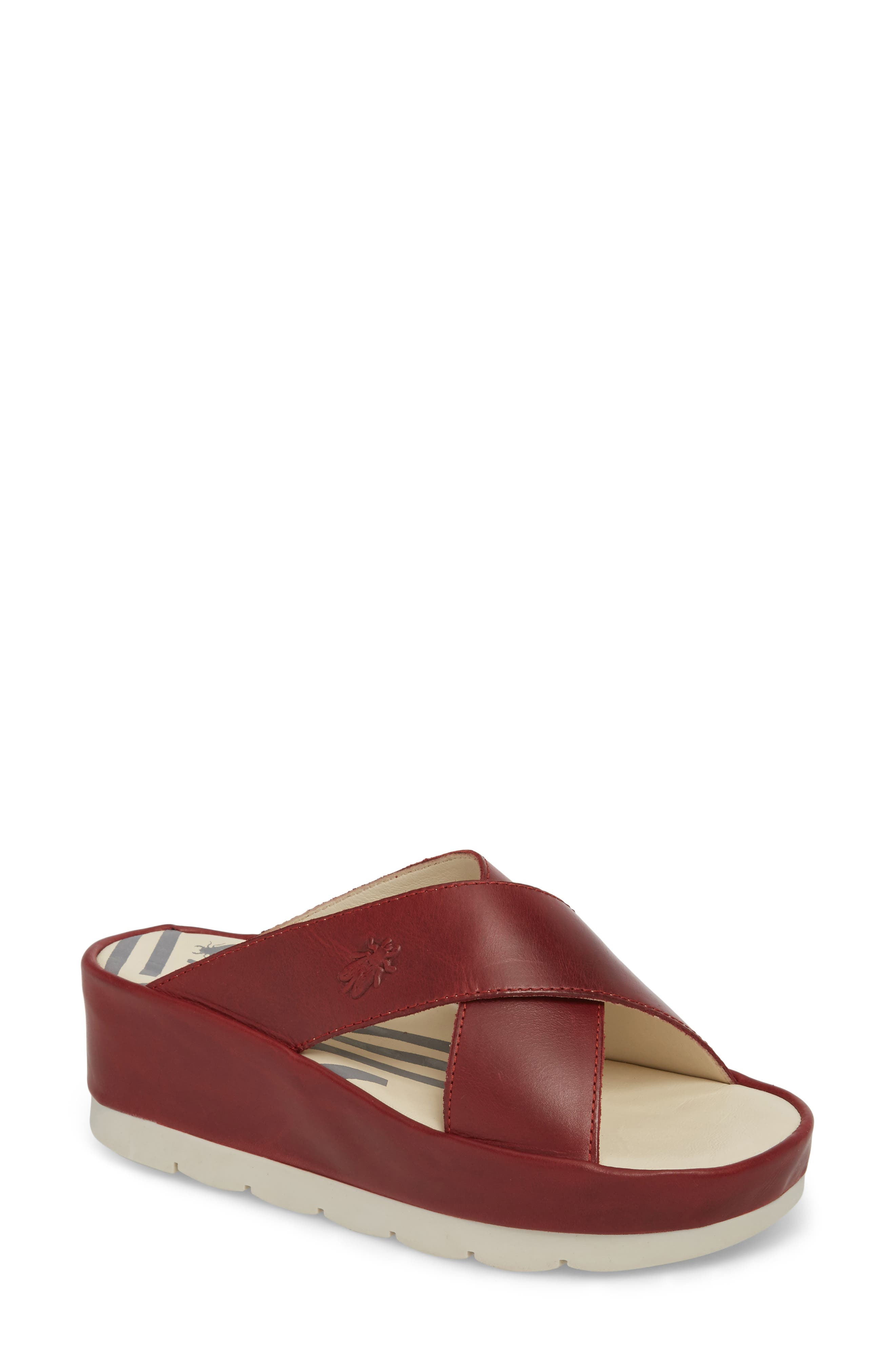 Fly London Begs Platform Slide Sandal, Red