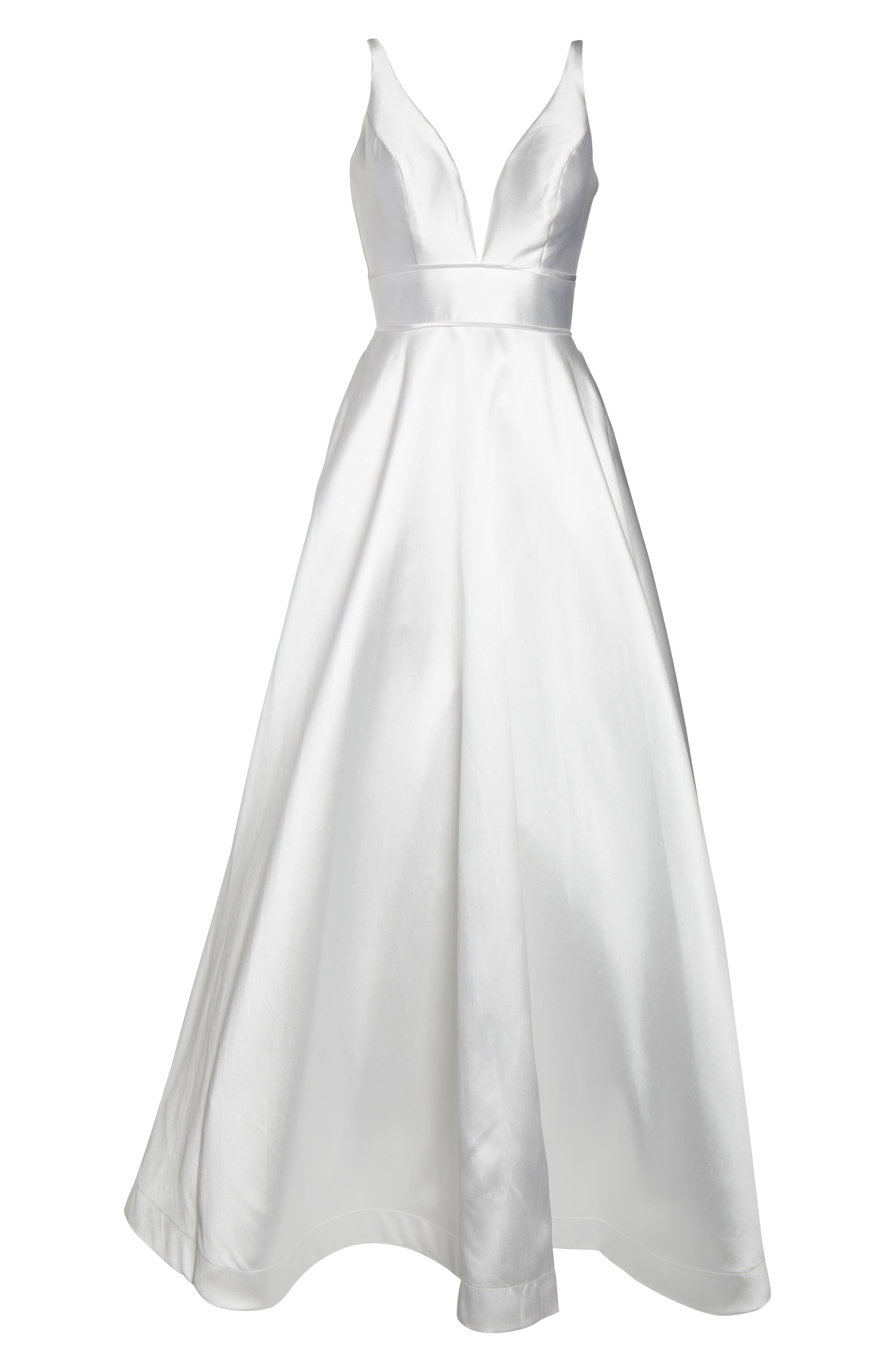 ,                             Plunging Sweetheart Neck Ballgown,                             Alternate thumbnail 7, color,                             WHITE