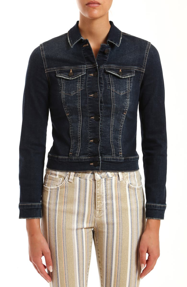 MAVI JEANS Samantha Distressed Denim Jacket, Main, color, DEEP TRIBECA
