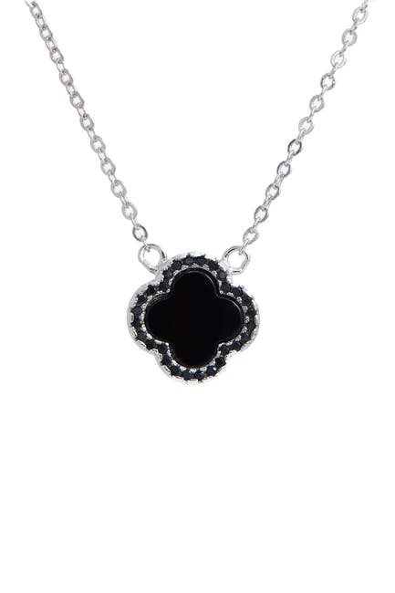 Image of Savvy Cie Sterling Silver Onyx & CZ Clover Pendant Necklace