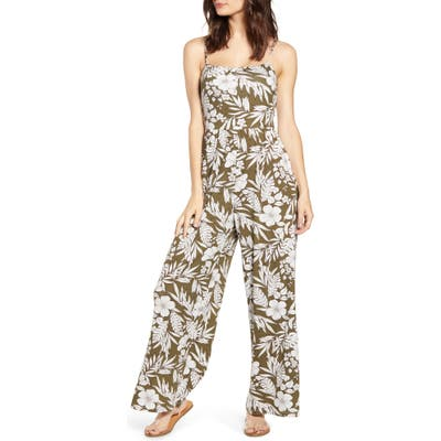 All In Favor Tropical Floral Print Jumpsuit, Green