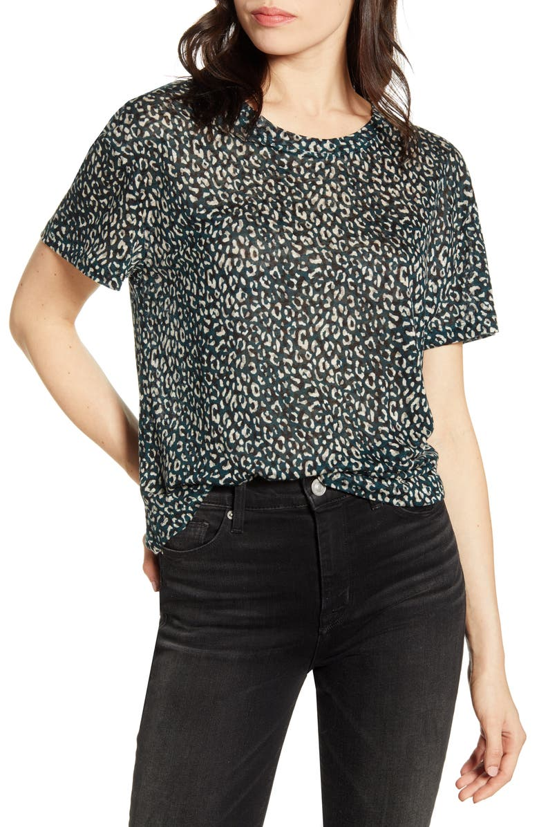 CURRENT/ELLIOTT The Clary Leopard Print Linen Tee, Main, color, 301