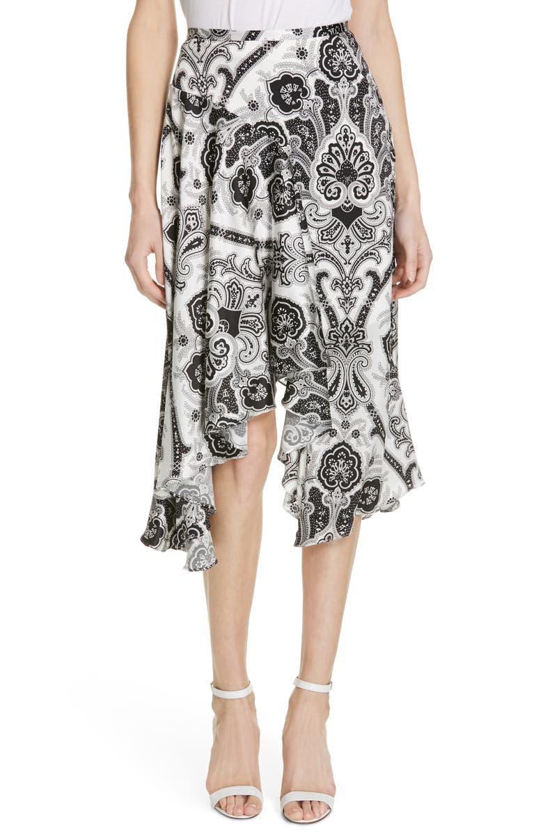 CAROLINE CONSTAS Flounce Silk Skirt, Main, color, 100