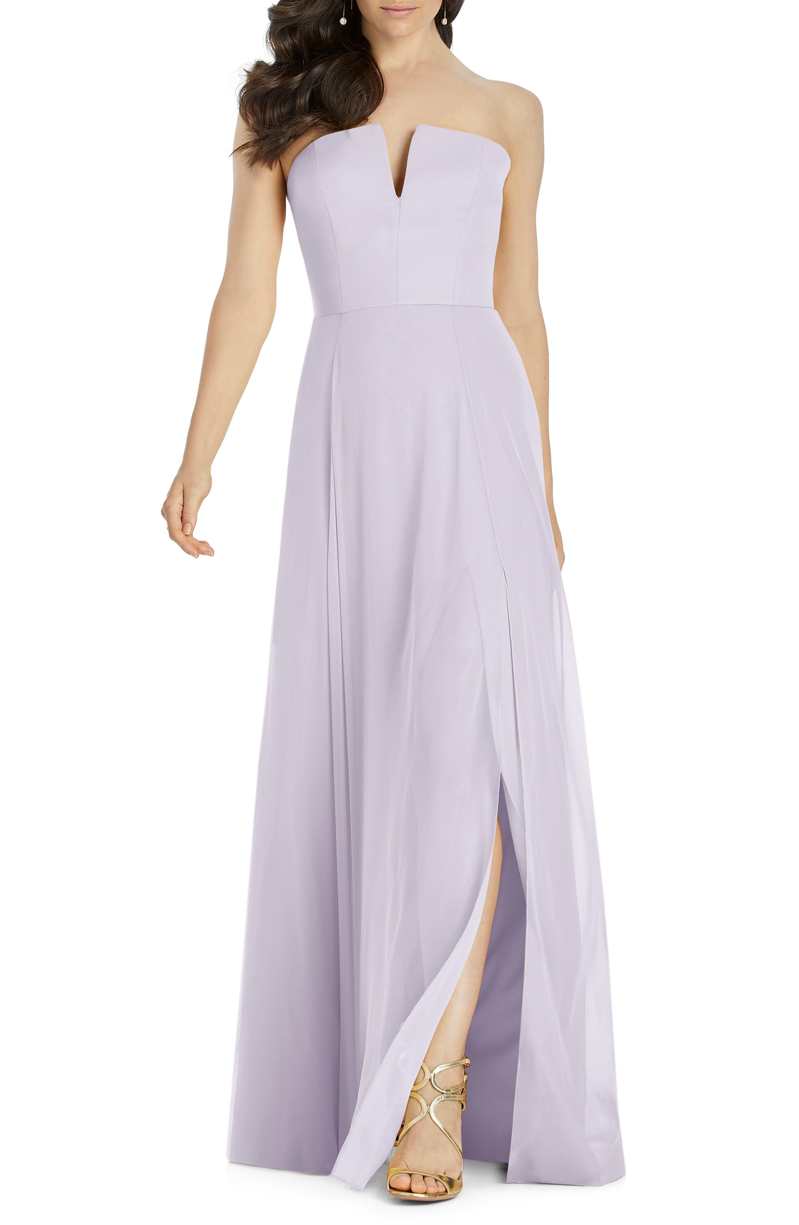 Dessy Collection Strapless Chiffon Evening Dress, Purple