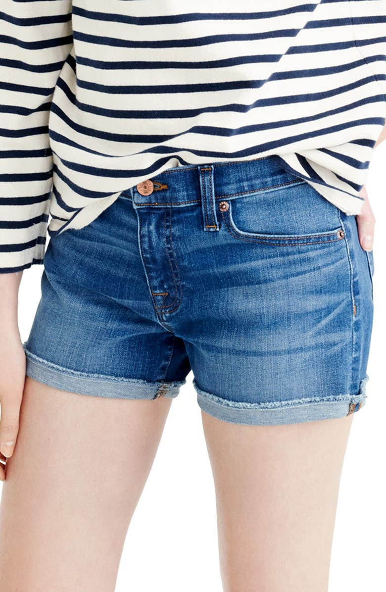 J.CREW Midrise Denim Shorts, Main, color, BLUE