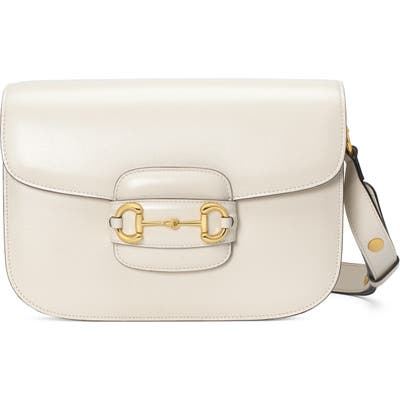Gucci Small 1955 Horsebit Leather Shoulder Bag - White